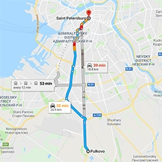 WHAT IS THE DISTANCE BETWEEN PULKOVO AIRPORT AND THE CITY CENTRE?